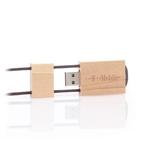 Houten USB stick Environment met nekkoord, maple