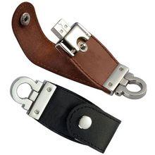 Luxe leren USB stick sleutelhanger